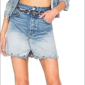 GRLFRND 'Mila' Denim Skirt with silver rings